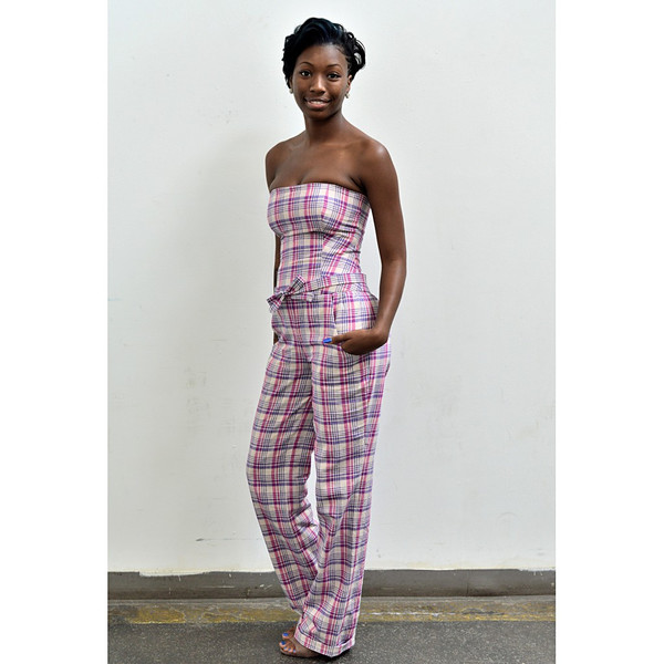Laurianda Linen Plaid Jumpsuit