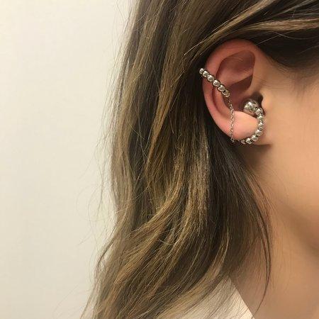 Joomi Lim Double Sphere Ear Cuff W/ Connecting Chain - Rhodium