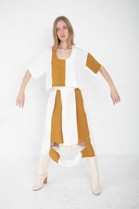 Nancy Stella Soto Striped Linen Short Sleeve Shirt - Mustard