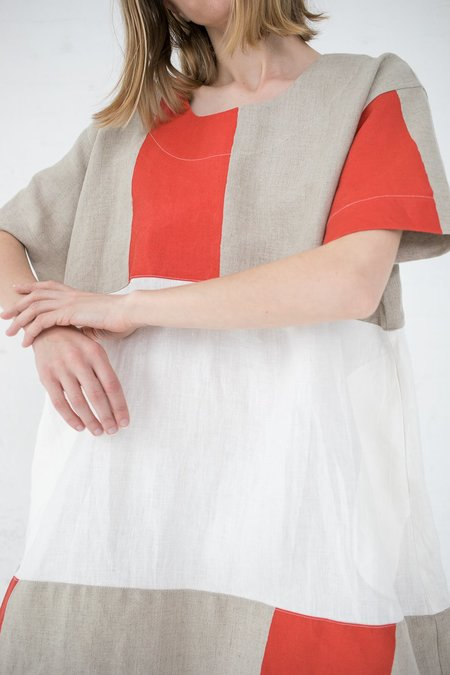 Nancy Stella Soto Striped Linen Two-Toned Dress - Red