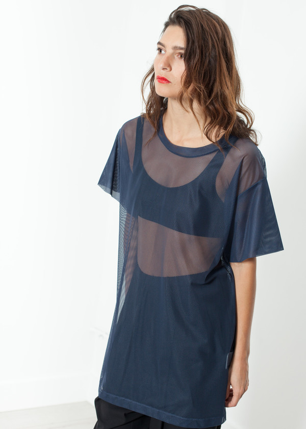 Maria Calderara Mesh Over Dress in Navy