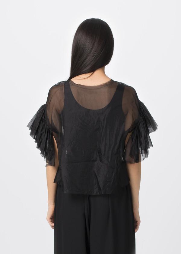 Louiza Babouryan Ruffle Sleeve Top