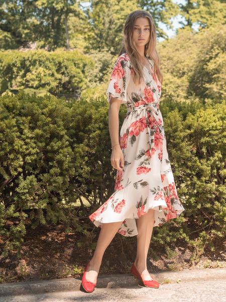 BLNC Floral Ruffle Dress - Ivory