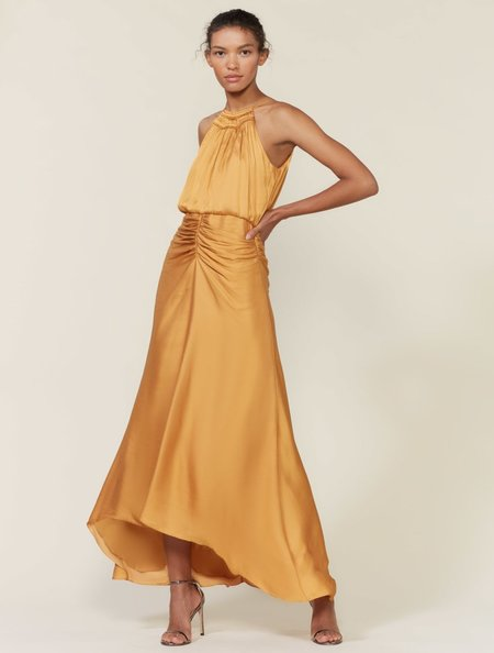 Halston Heritage Ruched Memory Satin Gown - Honey