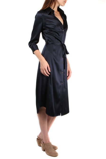 a.mannna Bo Button Down Silk Dress - Midnight