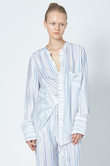 KES Elongated Pleated Back Button-Up - Water Color Stripe Print