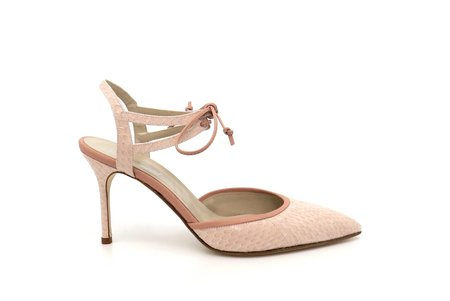 Jessica Bedard Elle Ankle Tie Pump - Blush
