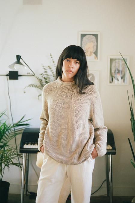 Lauren Manoogian Handknit Yoke Rollneck Sweater - Antique