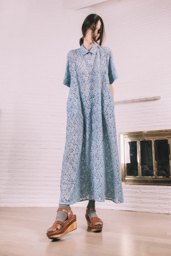 Kate Towers blue collar Dress/ Made to order