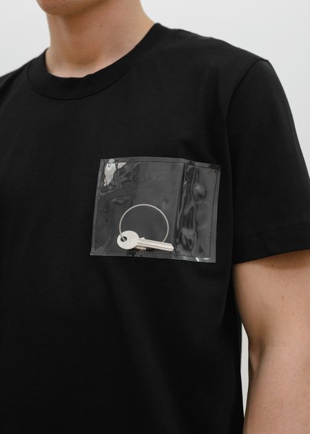 Heliot Emil T-Shirt with PVC Pocket - Black