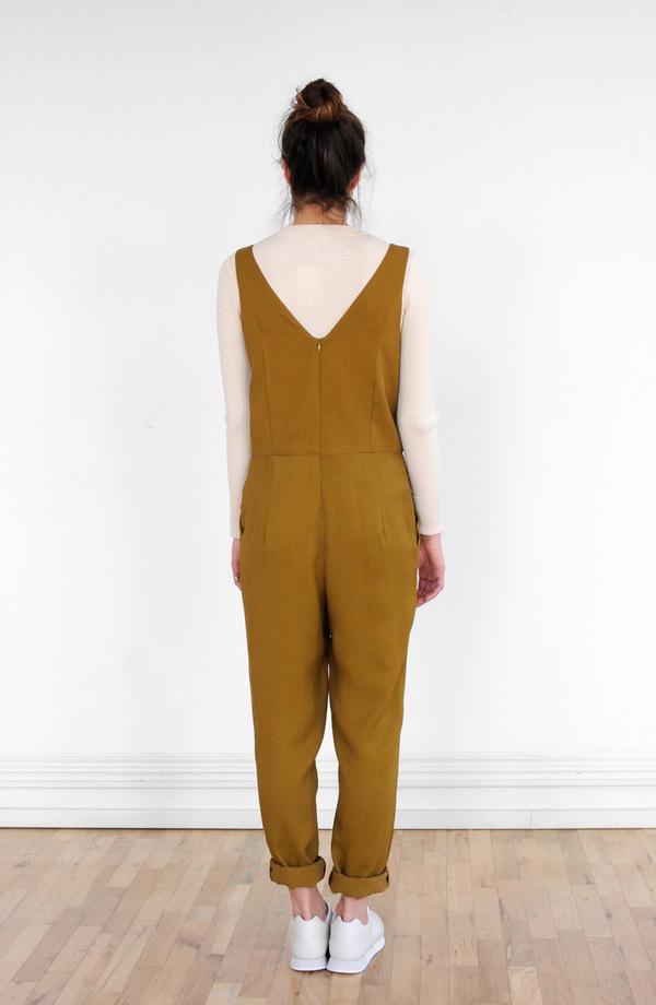 Waltz Double Pleat Jumpsuit in Golden Olive
