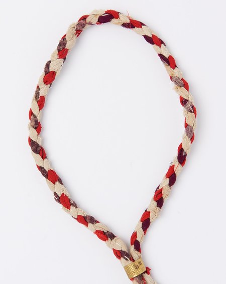 Vintage Braided Fabric Lariat - Red