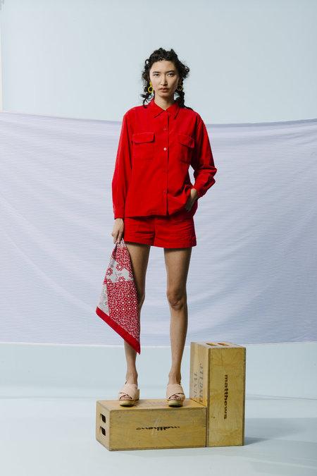 Carleen Triangle Pocket Shorts - Cherry