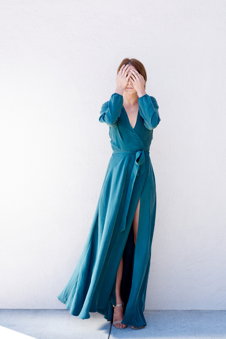 Kamperett Linden Silk Wrap Dress - Juniper / Pre-Order