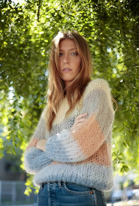 Maiami Striped Mohair Sweater - Camel