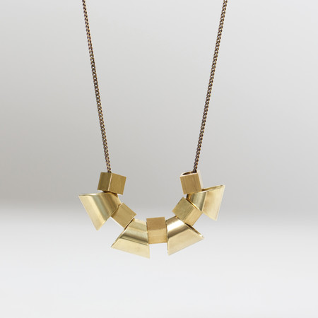 7115 by Szeki Trapezoid Cubes Brass Necklace