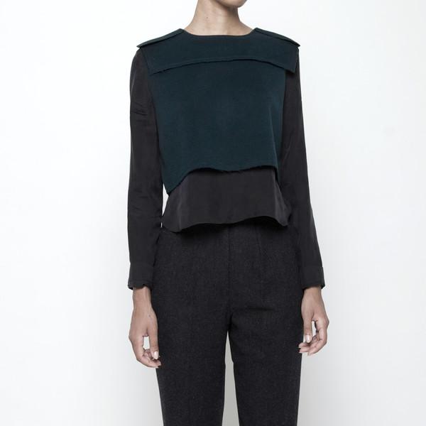 7115 by Szeki Wool Vest Long Sleeve Top