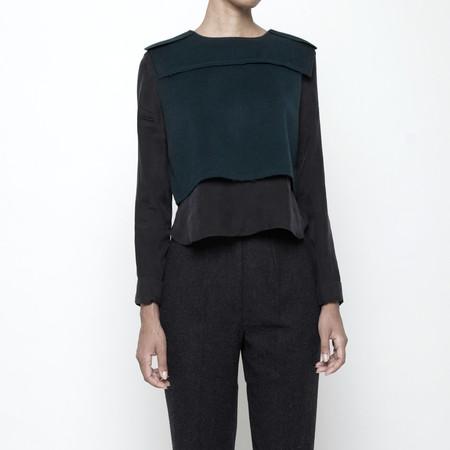 7115 by Szeki Wool Vest Long Sleeve Top FW15 - Green
