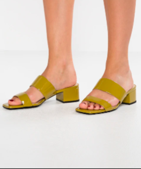 """INTENTIONALLY __________."" SCAMP sandal - Mustard Patent"