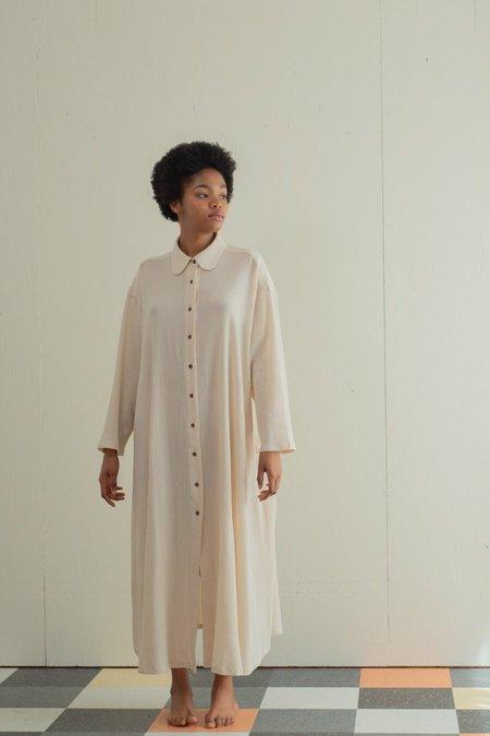 Sunja Link Shirt Dress with Tie - Beige
