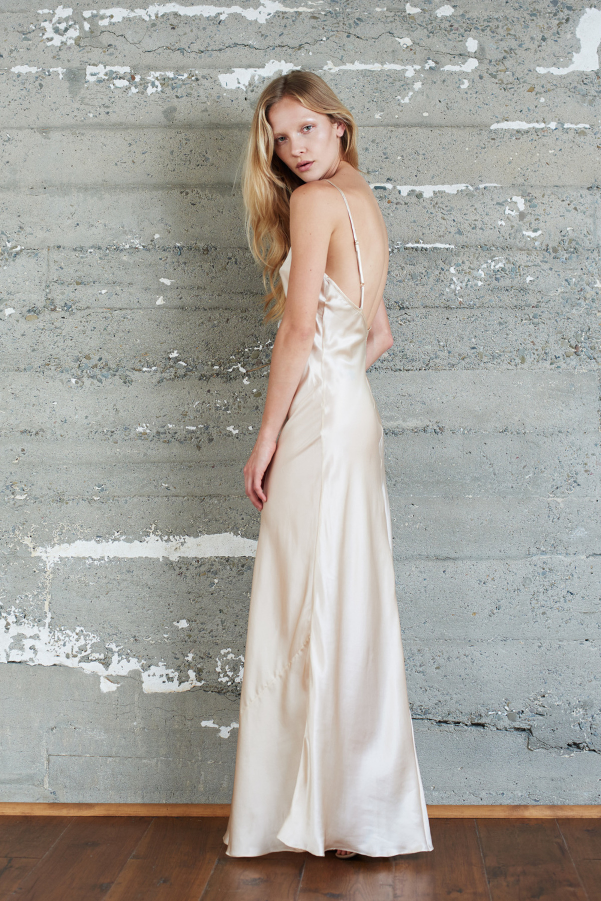 Kamperett Rosalind Silk Charmeuse Slip Dress | Champagne | Garmentory