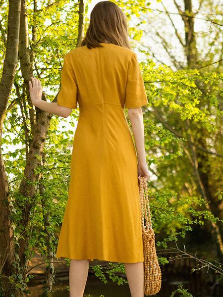 Dunst V Neck Flared Dress - Mustard