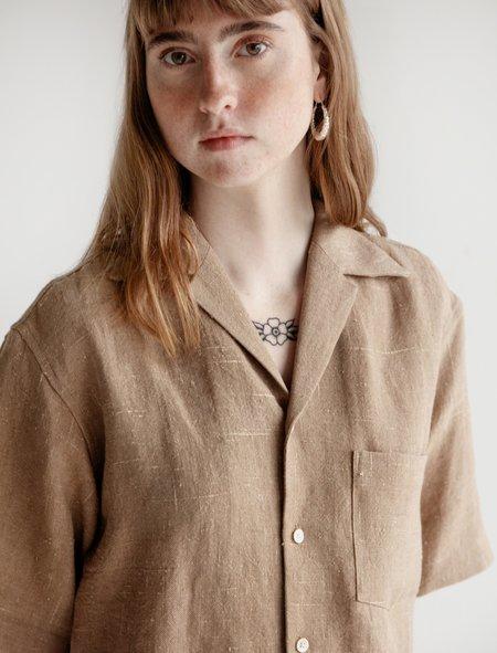 Auralee Summer Tweed Shirt - Brown Chambray