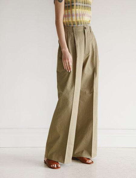 Auralee Washed Chino Wide Pants - Olive