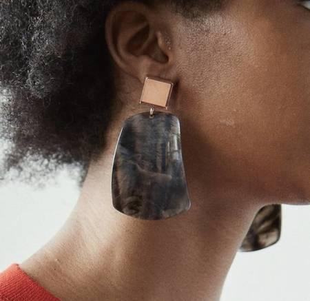 Rachel Comey Furrow Earrings - Black Marble