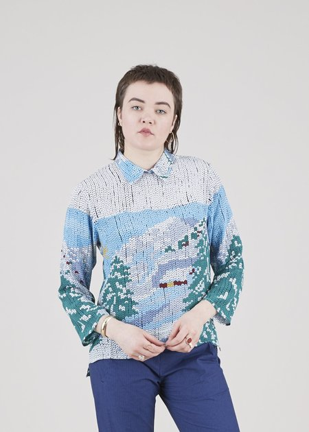 Mii Collection Sequin Print Silk Shirt - Day/Blue