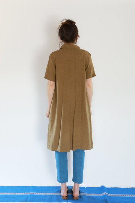 Me & Arrow SHORT SLEEVE LONG DRESS JACKET - KHAKI