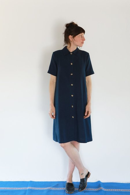 Me & Arrow Short Sleeve LONG JACKET DRESS - NAVY
