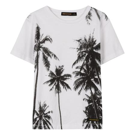 KIDS Finger In The Nose Dalton Short Sleeved T-shirt With Palms Print - White