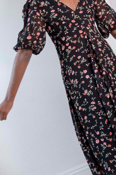 Ganni Puff Sleeve Dress - Black