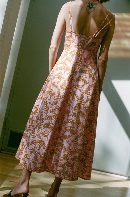 No.6 Bali Sundress - Apricot/Pink Dotted Leaves