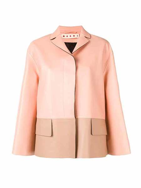 Marni LAMB LEATHER JACKET - DUNE