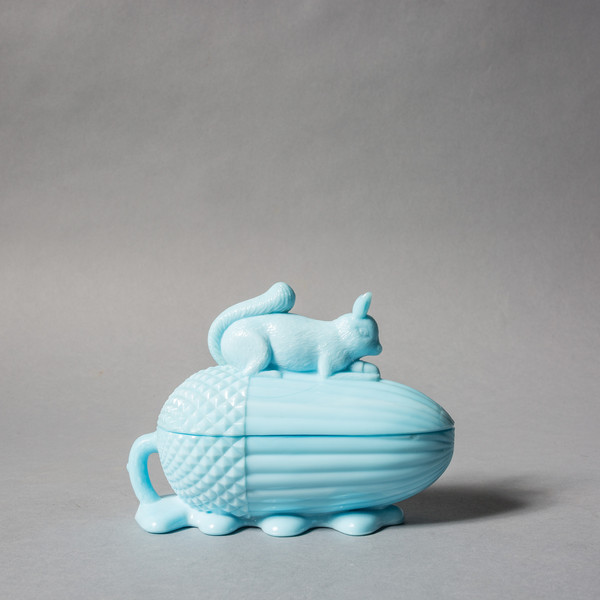 Rider For Life Milk Glass Squirrel