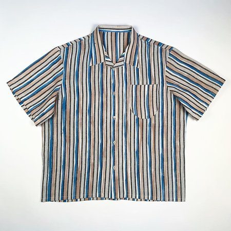 Tony Shirtmakers Hand Painted Brush Stroke Camp Shirt - Stripe