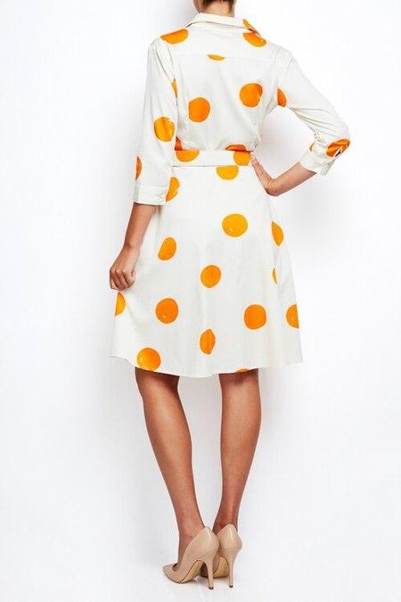 Samantha Sung a line dress - orange polka dot
