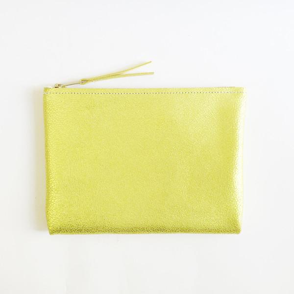 ARA Handbags - Metallic Chartreuse Clutch No. 1