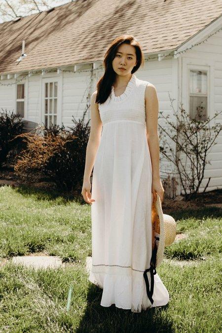 Vintage 1970's Smocked Maxi Dress - White