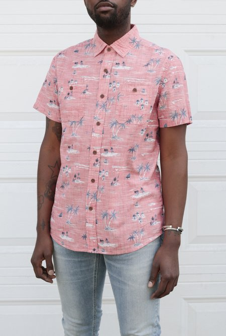 Grayers Gilligan's Printed Chambray SS Shirt - Dusty Cedar