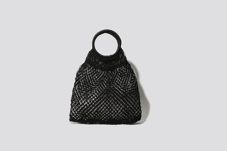 maison bengal Woven Tote - Black