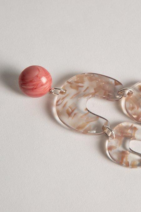 Alexandrine Paris Acetate Two Tiered Earrings - Pale Pink