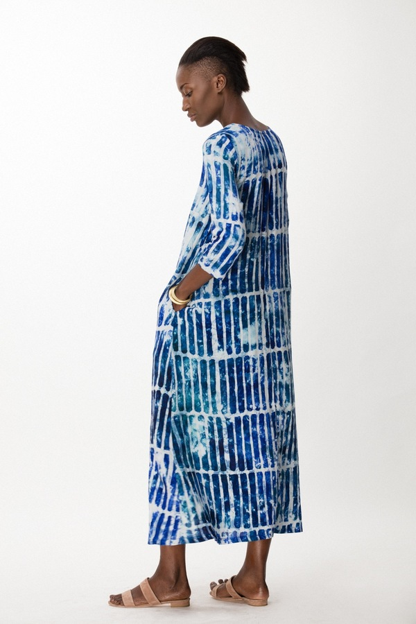 Osei-Duro Nima Long Dress in Marine Chalk