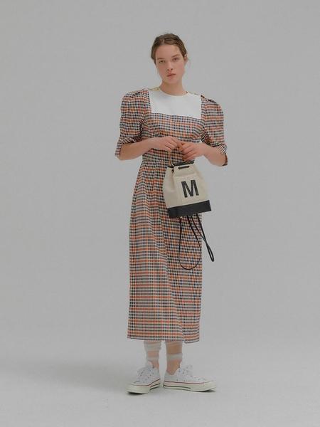Eenk Marcia Puff Sleeve Long Dress - Multi Color Check