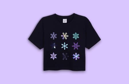 Lb2 Studio Snowflakes Crop T-shirt - Black