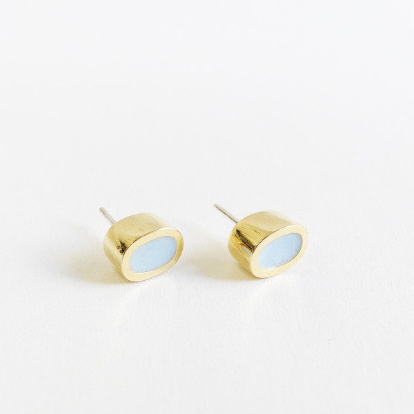 Karenn.la Light Blue Oval Stud
