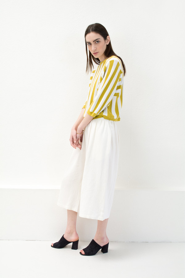 Reverse Stripe Citron Sweater