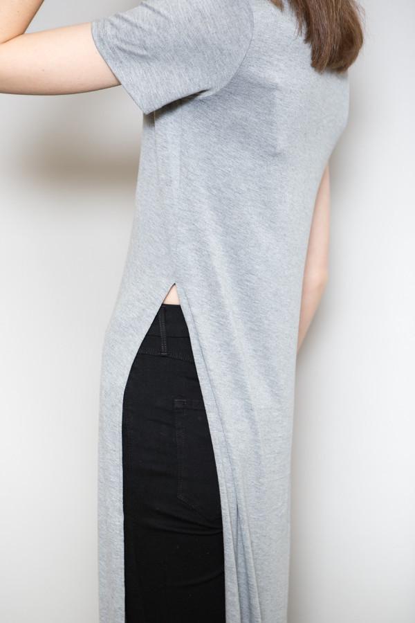 BLQ Basiq Side Slit Maxi Tee / Heather Grey